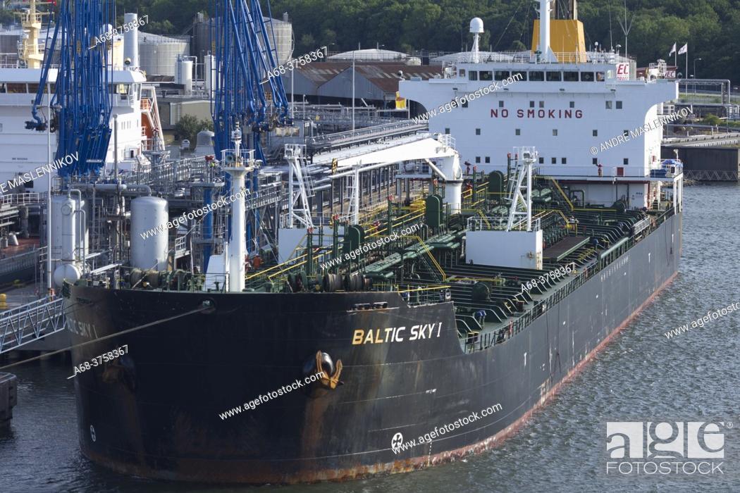 Stock Photo: Oil port in Gothenburg. Sweden.
