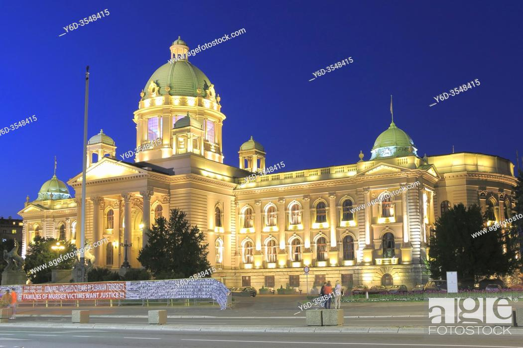 Stock Photo: The House of the National Assembly at Dusk, Belgrade, Serbia.