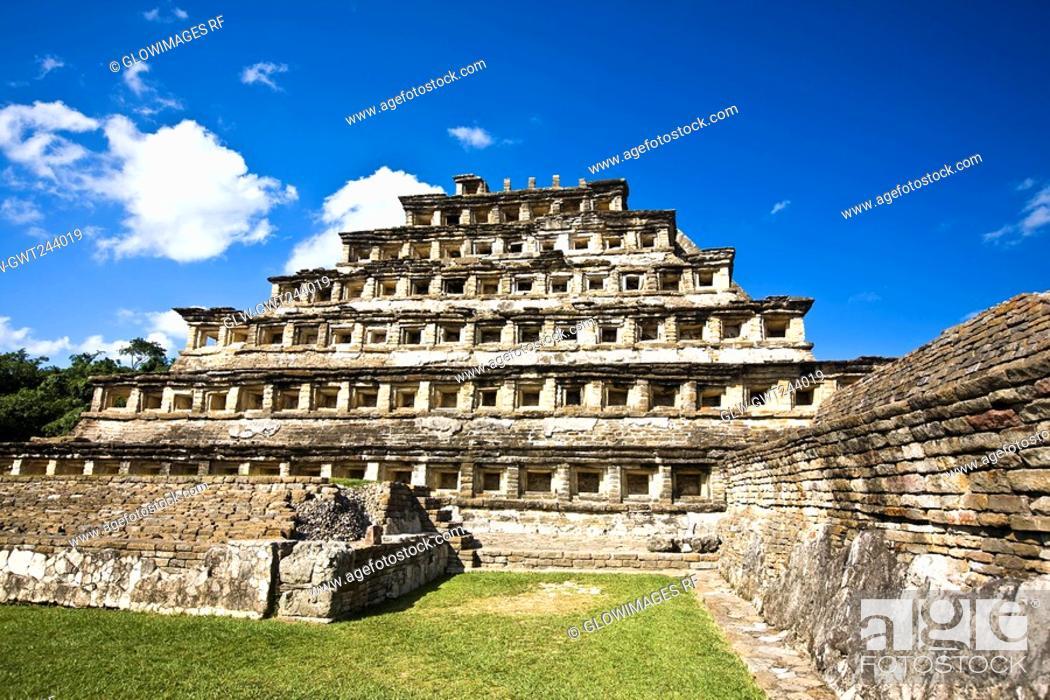 Stock Photo: Pyramid on a landscape, Pyramid Of The Niches, El Tajin, Veracruz, Mexico.