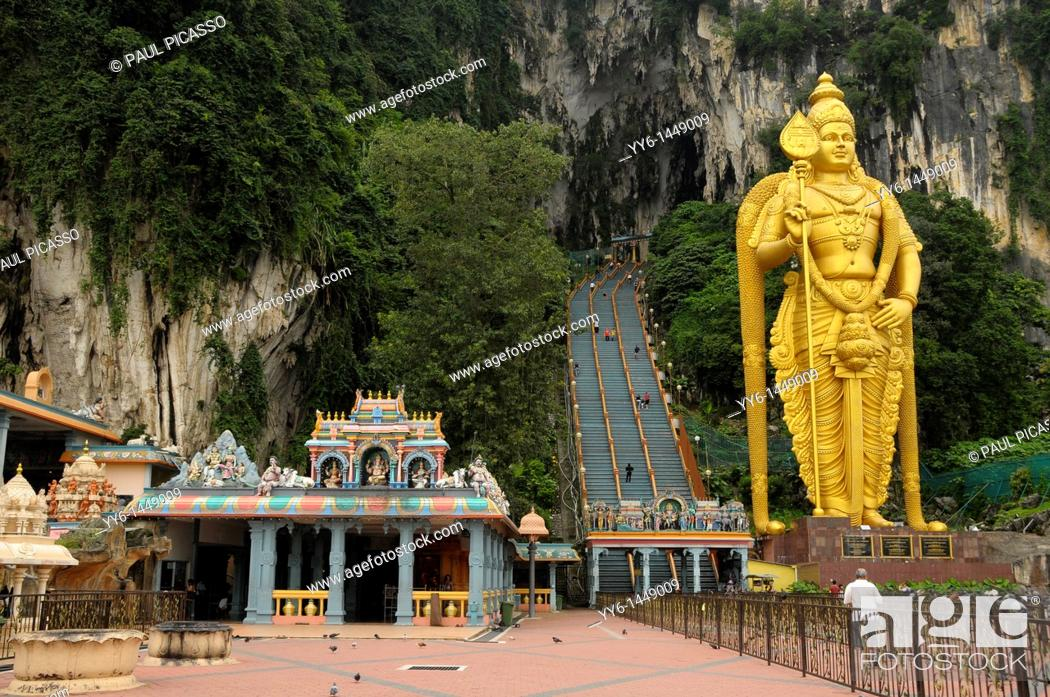 Stock Photo: statue of lord murugan, Batu caves , shrines and temples , sacred place of worship for hindu people , kuala lumpur, malaysia.