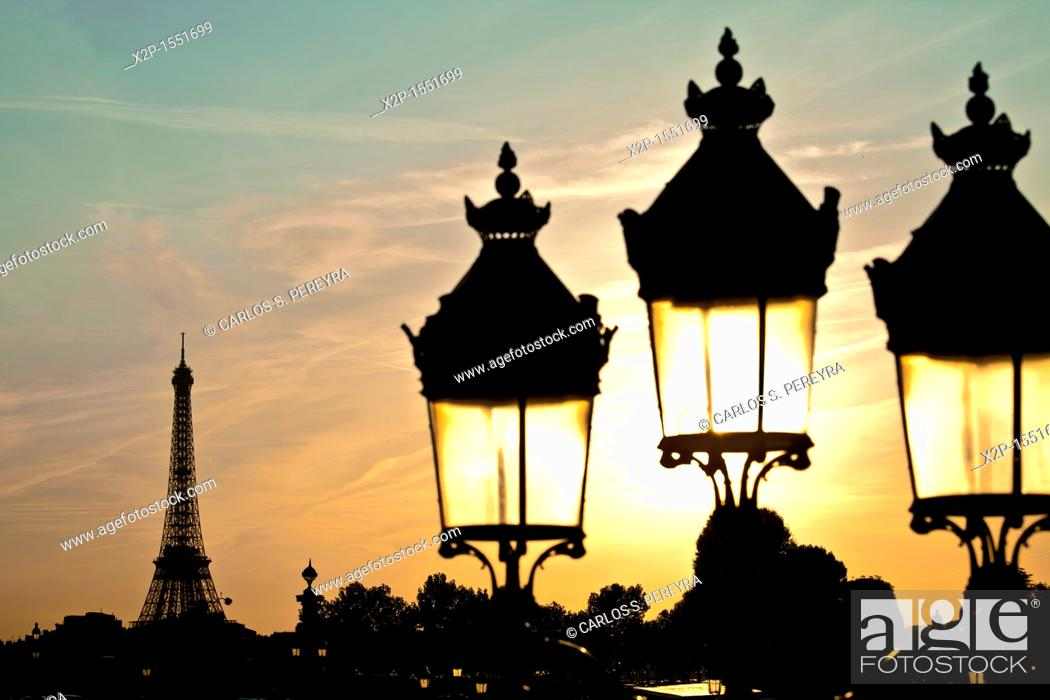 Stock Photo: Eiffel Tower view from the Concorde Square, Paris, France.