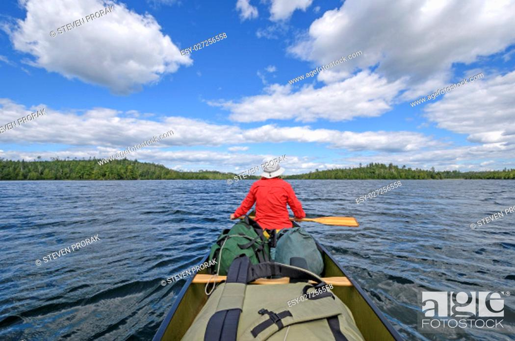 Stock Photo: Heading out to Deep Water on Birch Lake in Quetico Provincial Park in Ontario.