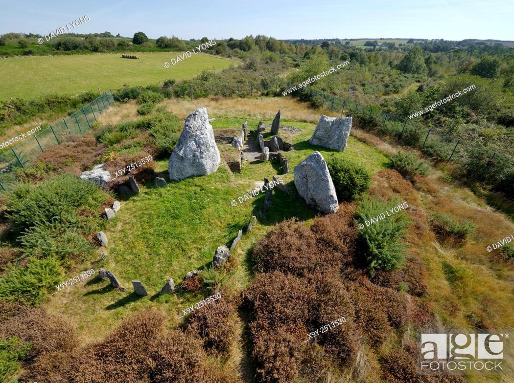 Stock Photo: Landes de Cojoux, Saint-Just, Brittany, France. The excavated prehistoric barrow passage grave dolmen complex of Chateau Bu.