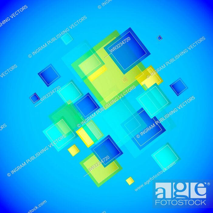 Vector: Blue square background with square elements.