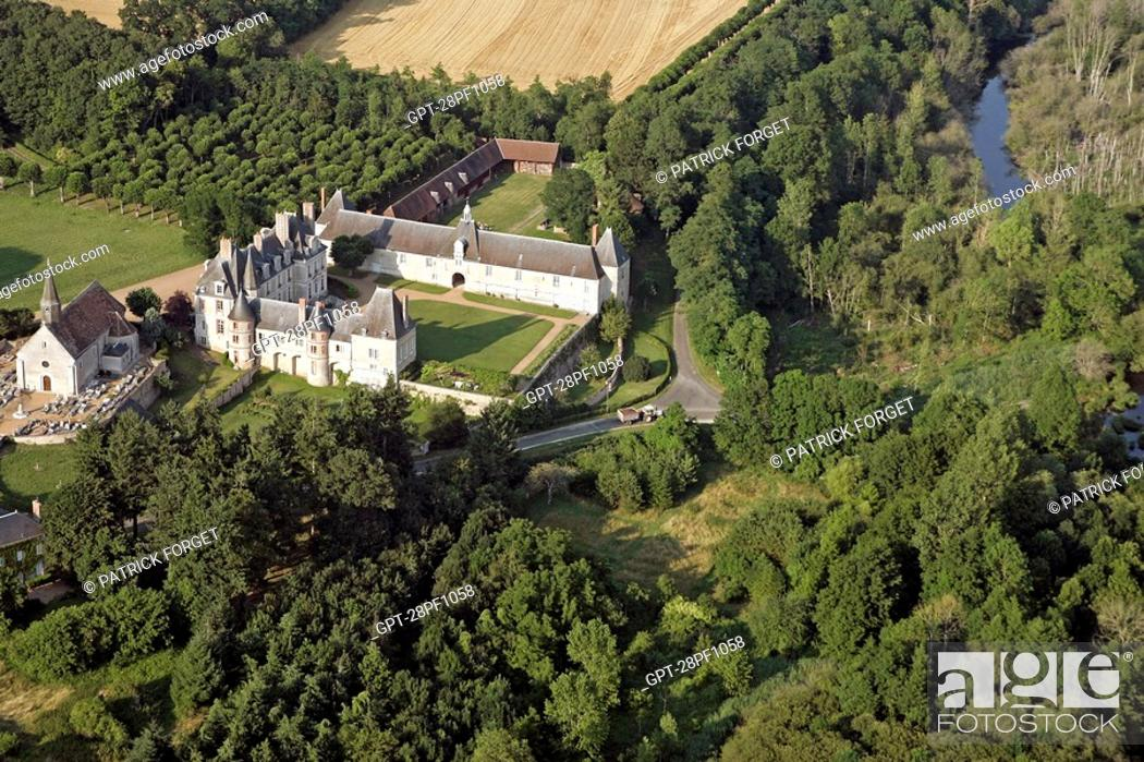 Stock Photo: AERIAL VIEW OF THE CHURCH AND CHATEAU OF MOLEANS, EURE-ET-LOIR 28, FRANCE.