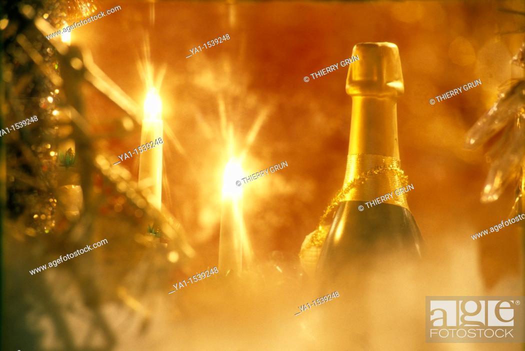 Stock Photo: Champagne bottle and Christmas tree illumination, Christmas market, Place St Louis, Metz, Lorraine region, France.