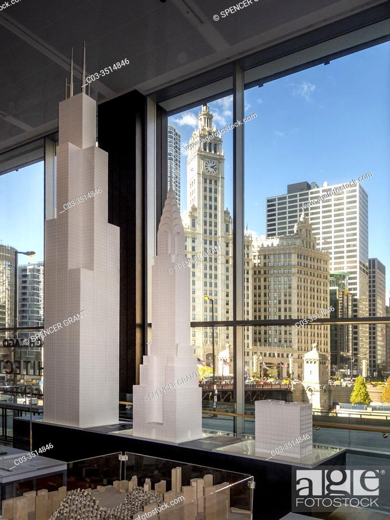 Stock Photo: Skyscraper models at the Chicago Architecture Center museum include the Willis Tower, left, the Chrysler Building, center and the Home Insurance Building.