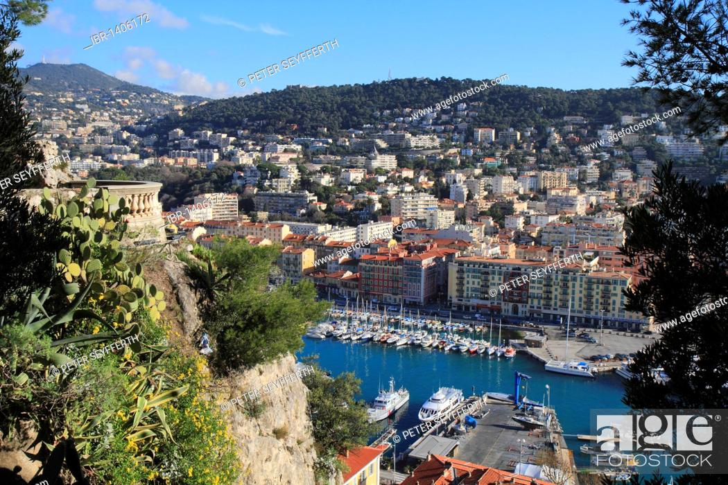 Stock Photo: Port, seen from the castle hill, Nice, Alpes Maritimes, Région Provence-Alpes-Côte d'Azur, Southern France, France, Europe.