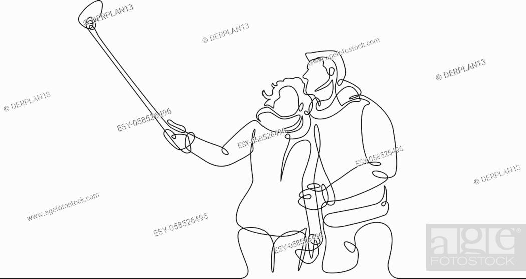 Stock Vector: Continuous one line drawing funny pair of tourists selfie stick phone device.