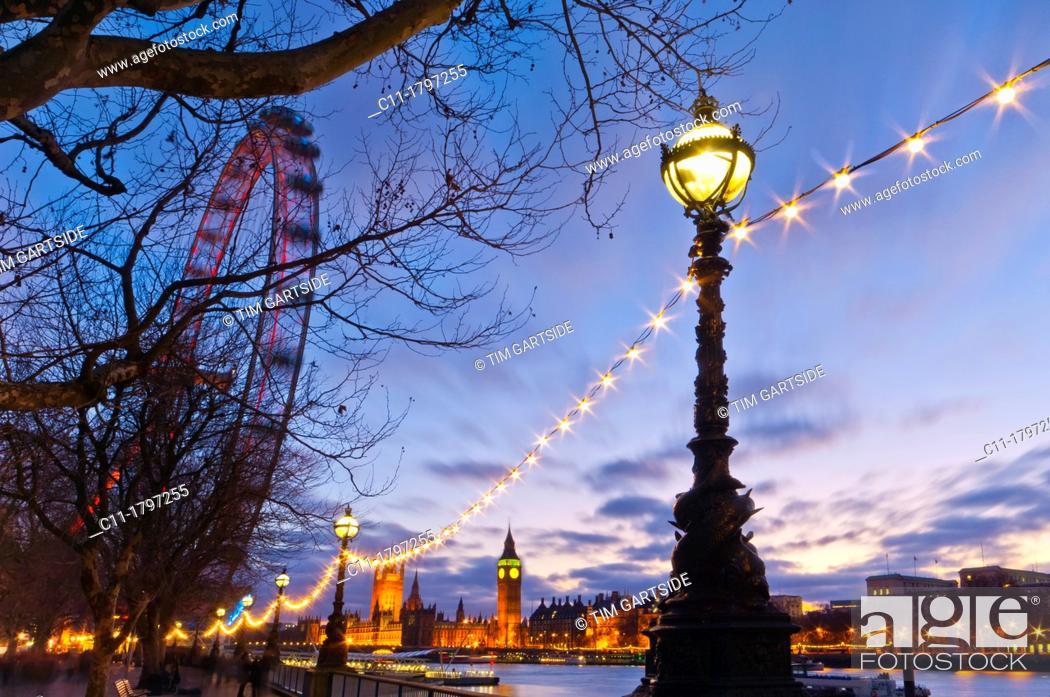 Stock Photo: london eye, big ben and houses of parliament, london, england, uk, europe.