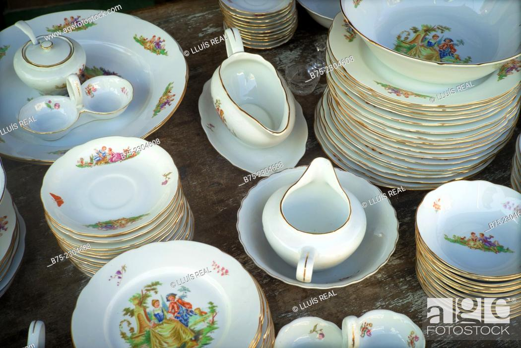 Stock Photo: Close up of pieces of classical porcelain tableware, at a street market in Yafo, Old Jaffa, Tel Aviv, Israel, Middle East.