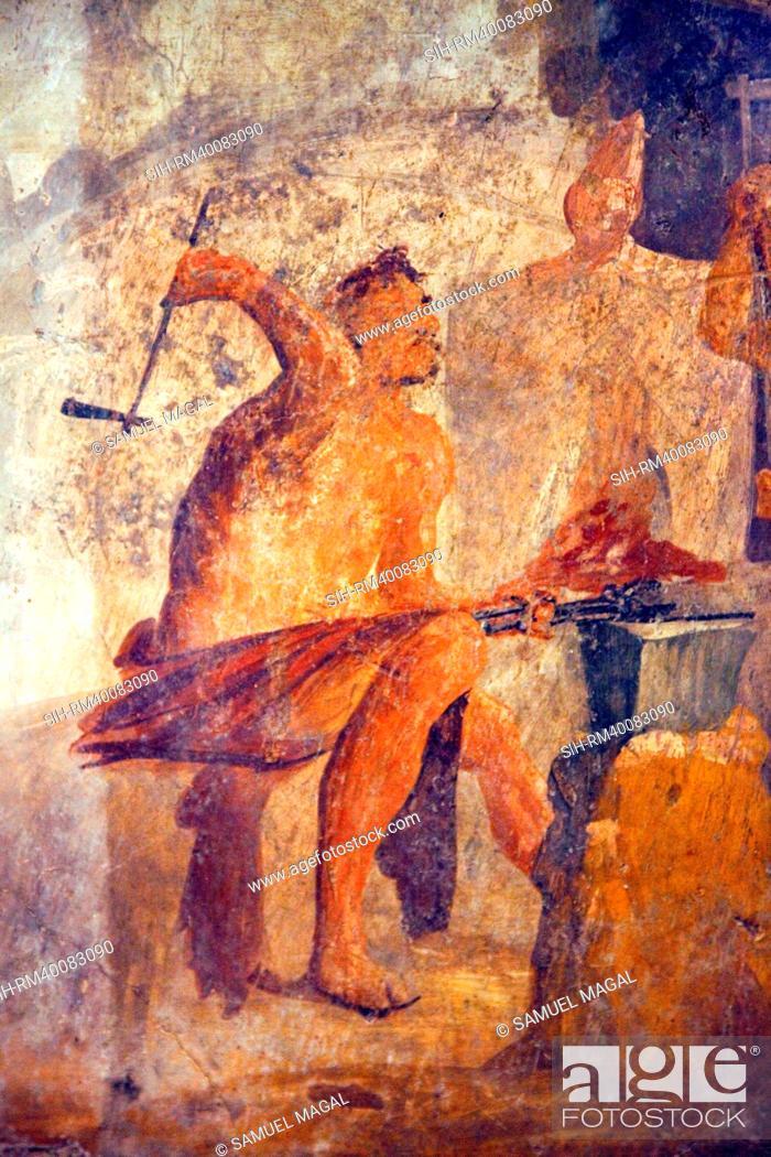 Stock Photo: Italy, Naples, Naples Museum, from Pompeii, House of Quadrighe VII 2, 25, The Workshop of Efesto.