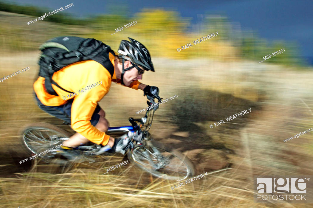 Stock Photo: Man mt. biking in Sun Valley, Idaho. USA.
