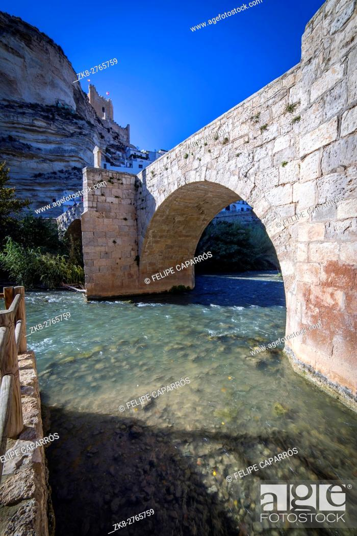 Stock Photo: Roman bridge, located in the central part of the town, to its passage by the river Jucar, at the top of mountain limestone is situated castle of Almohad origin.