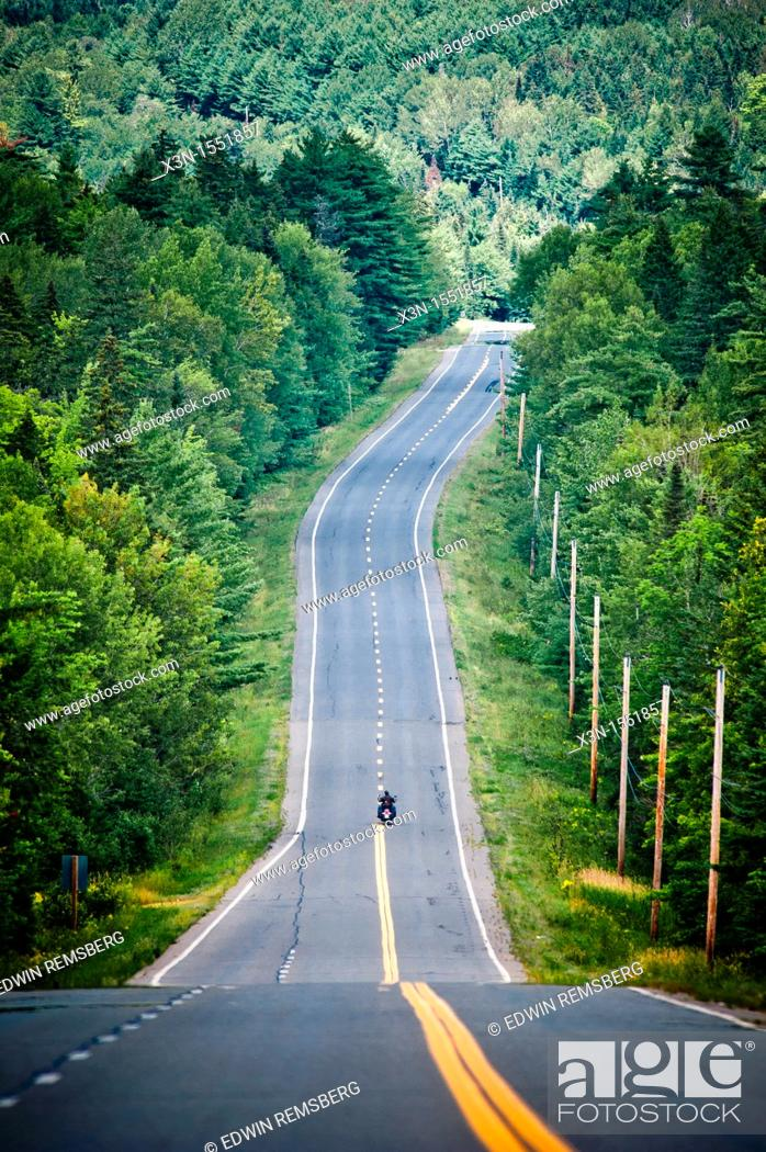 Stock Photo: Haynesville Woods, Route 2 tombstone every mile Aroostook County Maine.