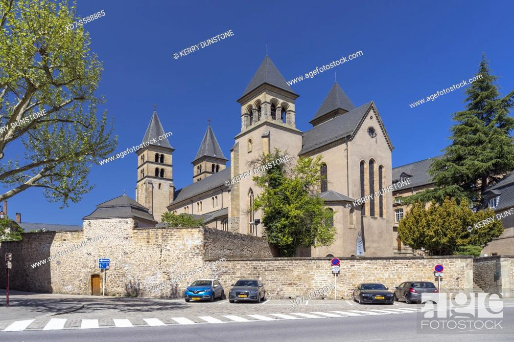 Stock Photo: Europe, Luxembourg, Echternach, The Abbey's Basilica of St Willibrord from Rue du Pont.