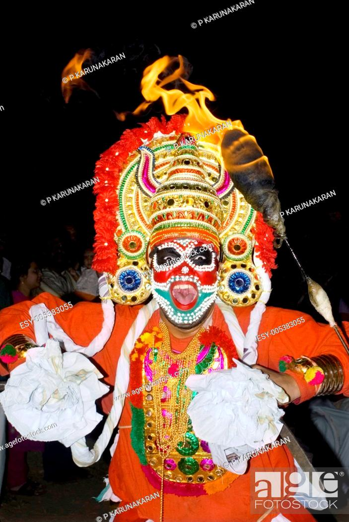 Kaliyoottu or Mudiyettu colourful folk ritual art form enacts ...