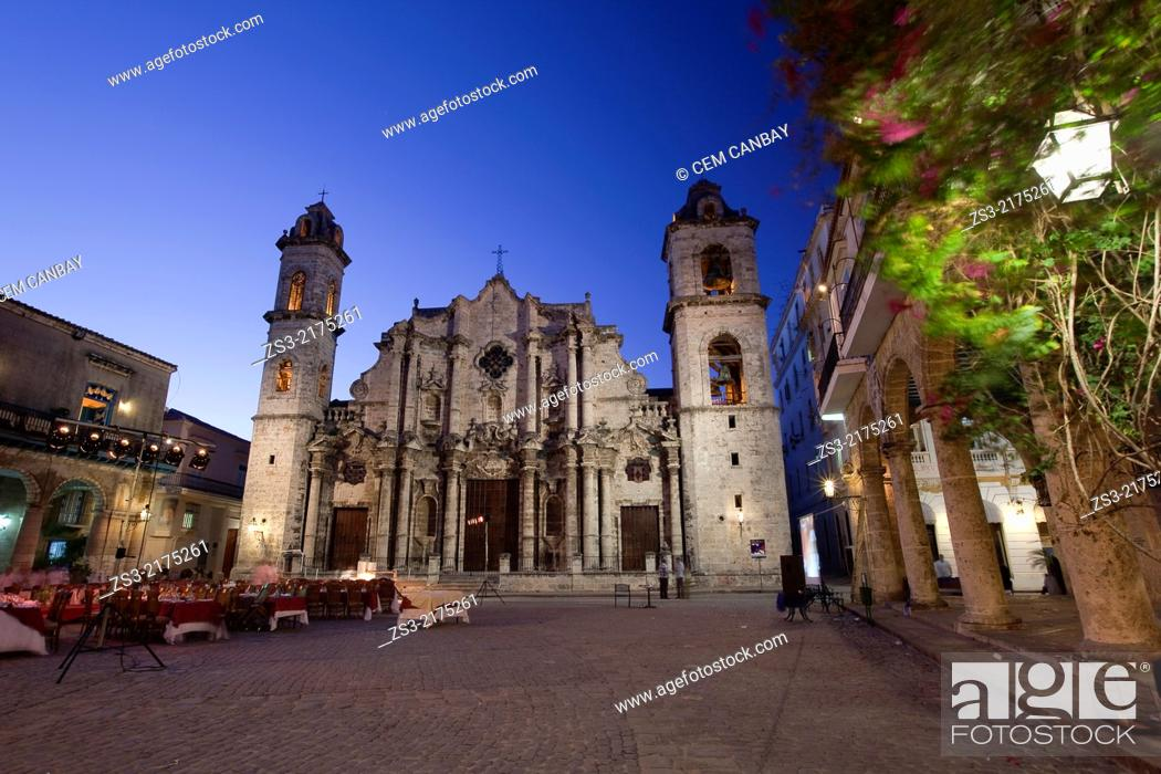 Stock Photo: Cathedral of San Cristobal by night, Havana Vieja, Old Havana District, Havana, Cuba, West Indies, Central America.
