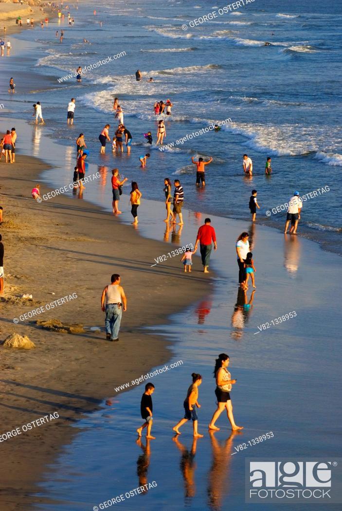 Stock Photo: Beach view from Oceanside Pier, Oceanside, California.