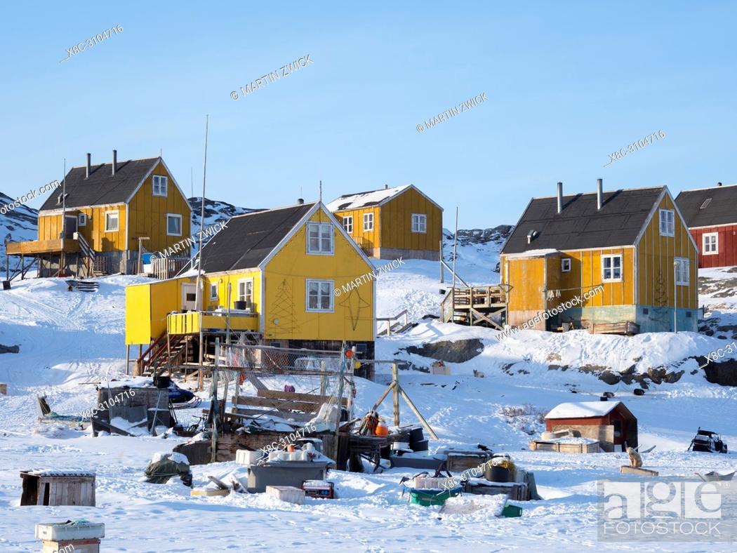 Stock Photo: The fishing village Ikerasak during winter in the Uummannaq fjordsystem north of the polar circle. America, North America, Greenland, Denmark.