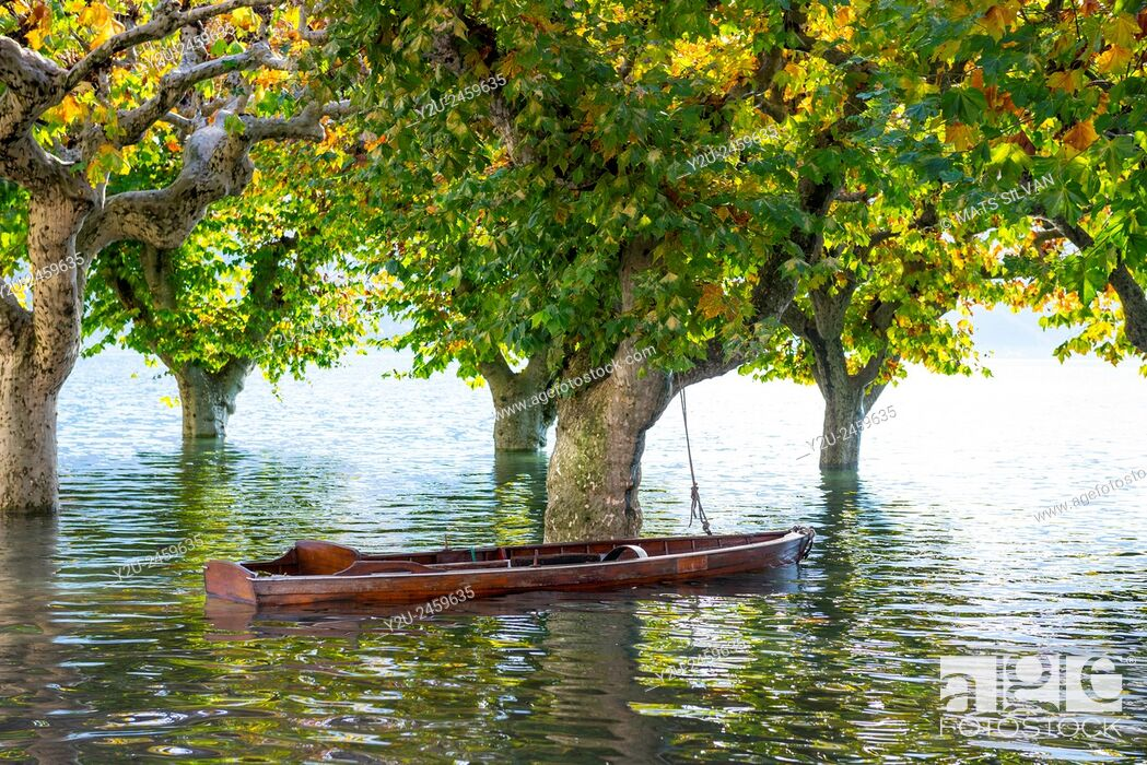 Stock Photo: Boat on a flooding alpine lake Maggiore with trees in Ascona, Switzerland.