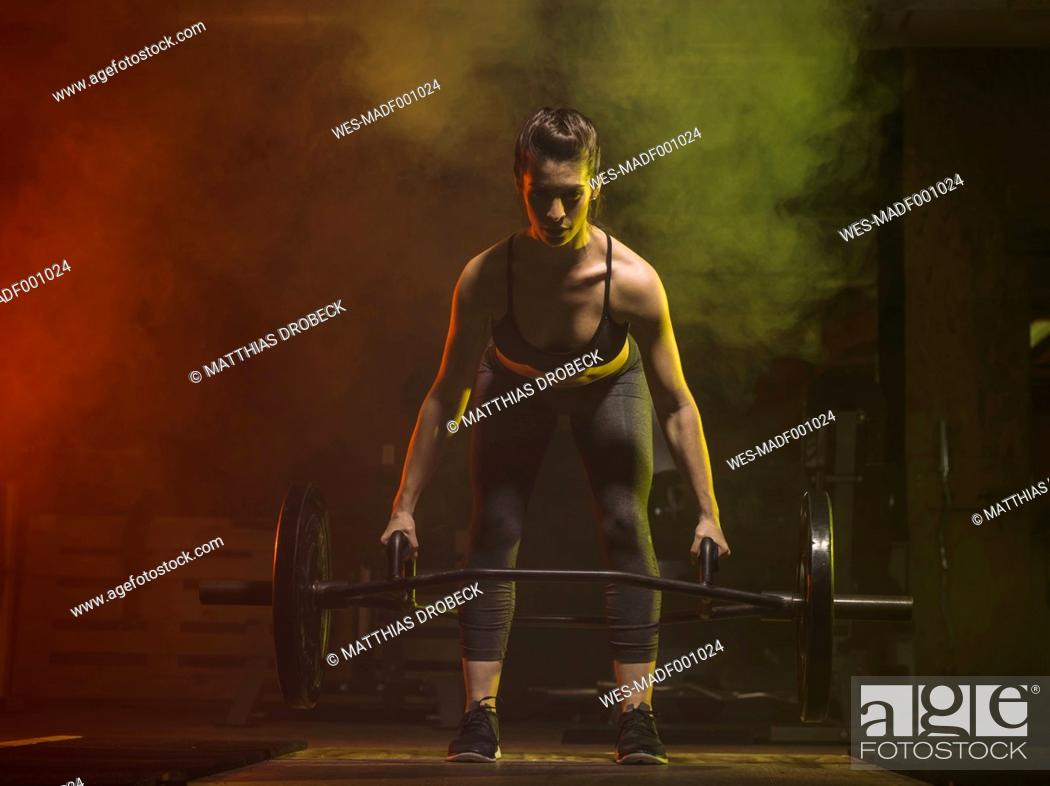 Stock Photo: Fitness, woman in gym.