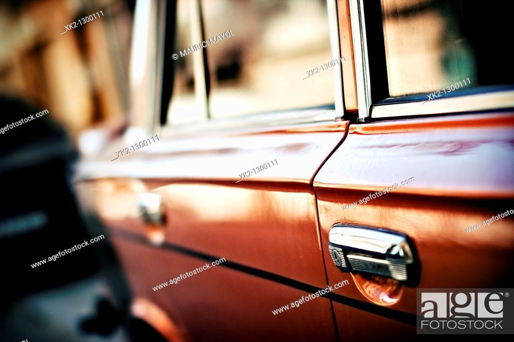 Stock Photo: Old car door.