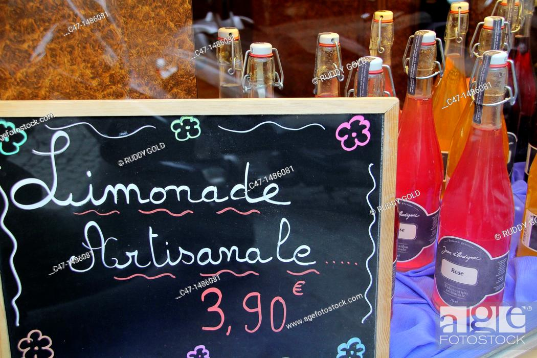 Stock Photo: Artisan lemonade at a shop on rue Quimcampoix, Paris, France.