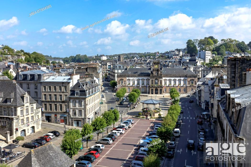 Stock Photo: Europe, France, Brittany, Morlaix, view over the 'Place des Otages' to the town hall 'Mairie de Morlaix'.