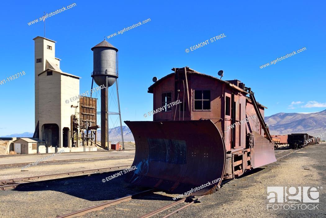 Stock Photo: historic snowplow at Nevada Northern Railway Museum, Ely, Nevada, USA, North America.