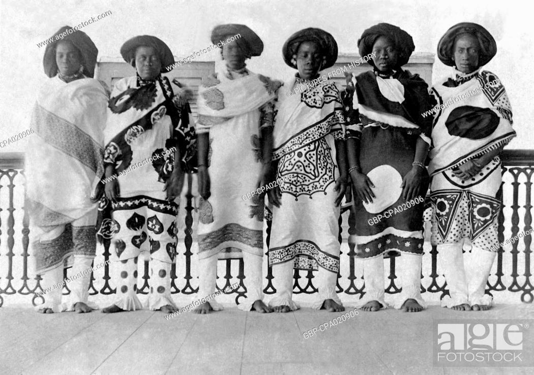 Tanzania / Zanzibar: Swahili women dress in high fashion wearing elaborate  kanga, late 19th century, Stock Photo, Picture And Rights Managed Image.  Pic. GBP-CPA020906 | agefotostock