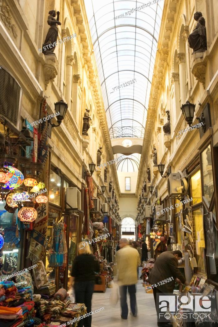 Stock Photo: Shops in the European Passage, Cicek Pasaji, Beyoglu District, Istanbul, Turkey.