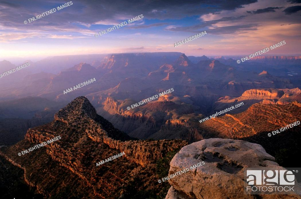 Stock Photo: Grand Canyon NP, AZ: Stormy Sunset over Canyon from Grandview Point, South Rim.