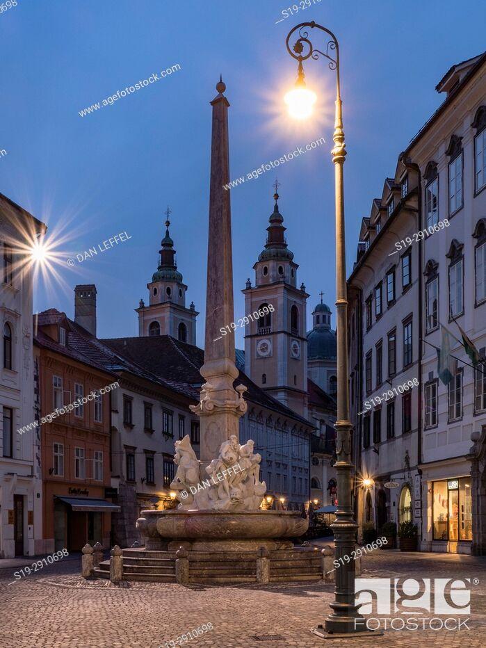 Stock Photo: Slovenia Ljubljana Street Scene.