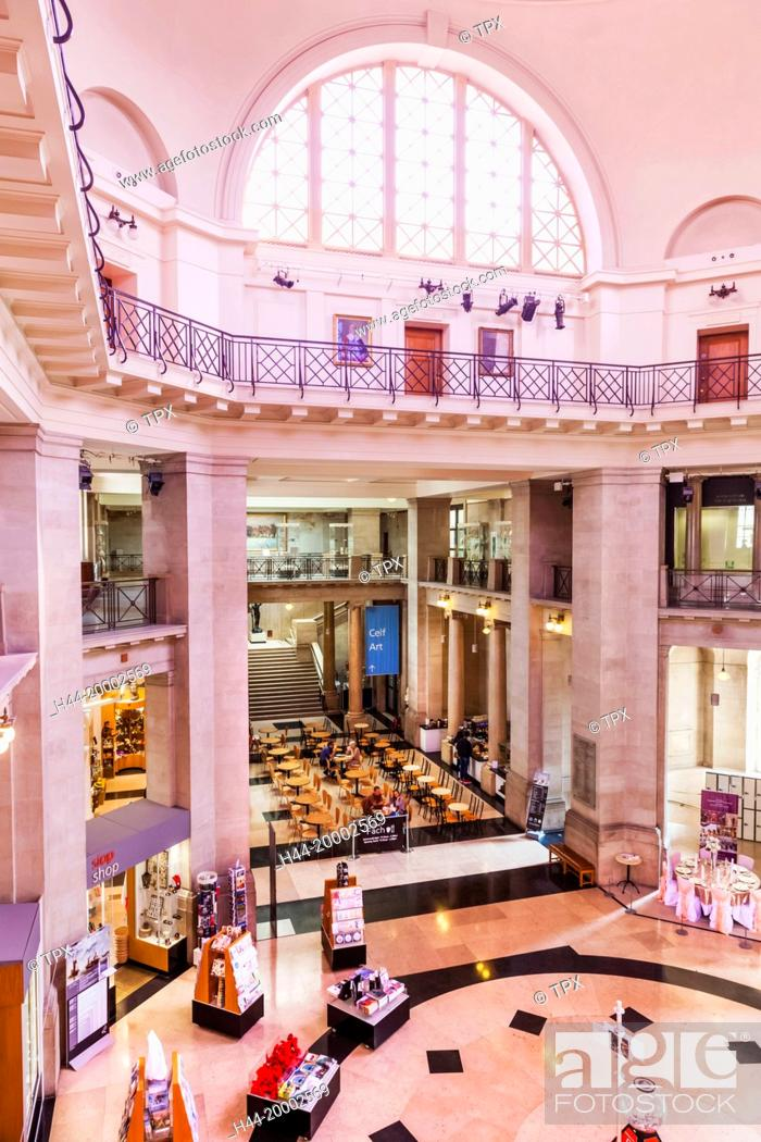 Stock Photo: Wales, Cardiff, National Museum Cardiff, The Main Hall.