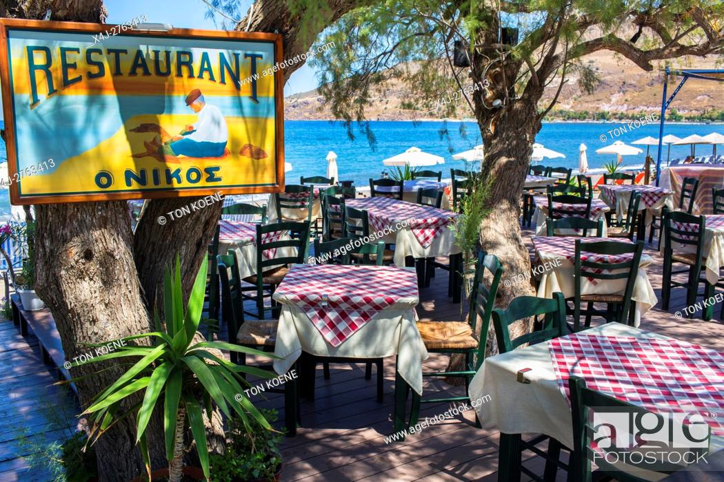Stock Photo: Empty restaurants on Levbos, Greece due to the refugee influx.