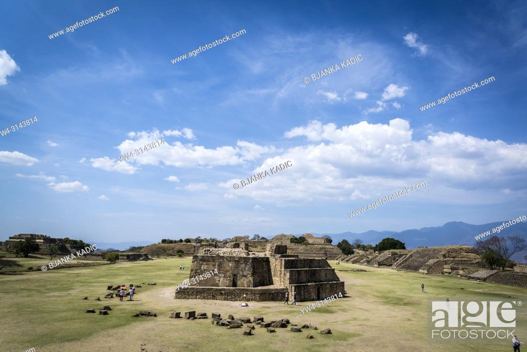 Stock Photo: Monte Alban, a pre-Columbian archaeological site, View of Main Plaza from the South Platform, with Building J in the foreground. , Oaxaca, Mexico.