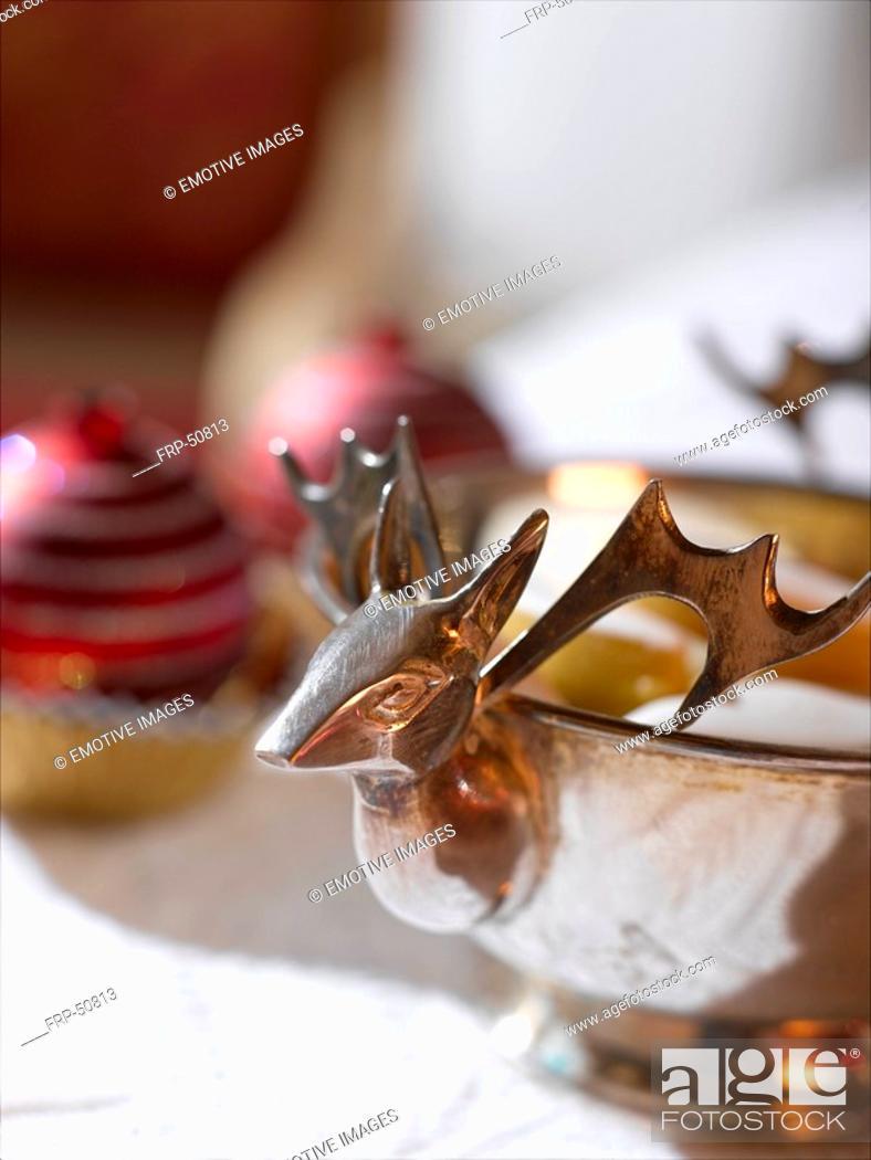 Stock Photo: Silver raindeer bowl.