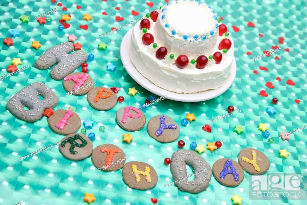Stock Photo: High angle view of a birthday cake.