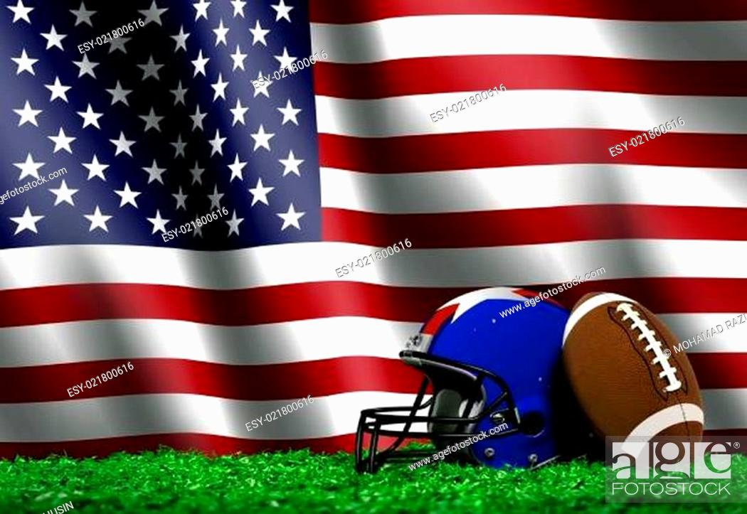 Imagen: Football with American Flag Background.
