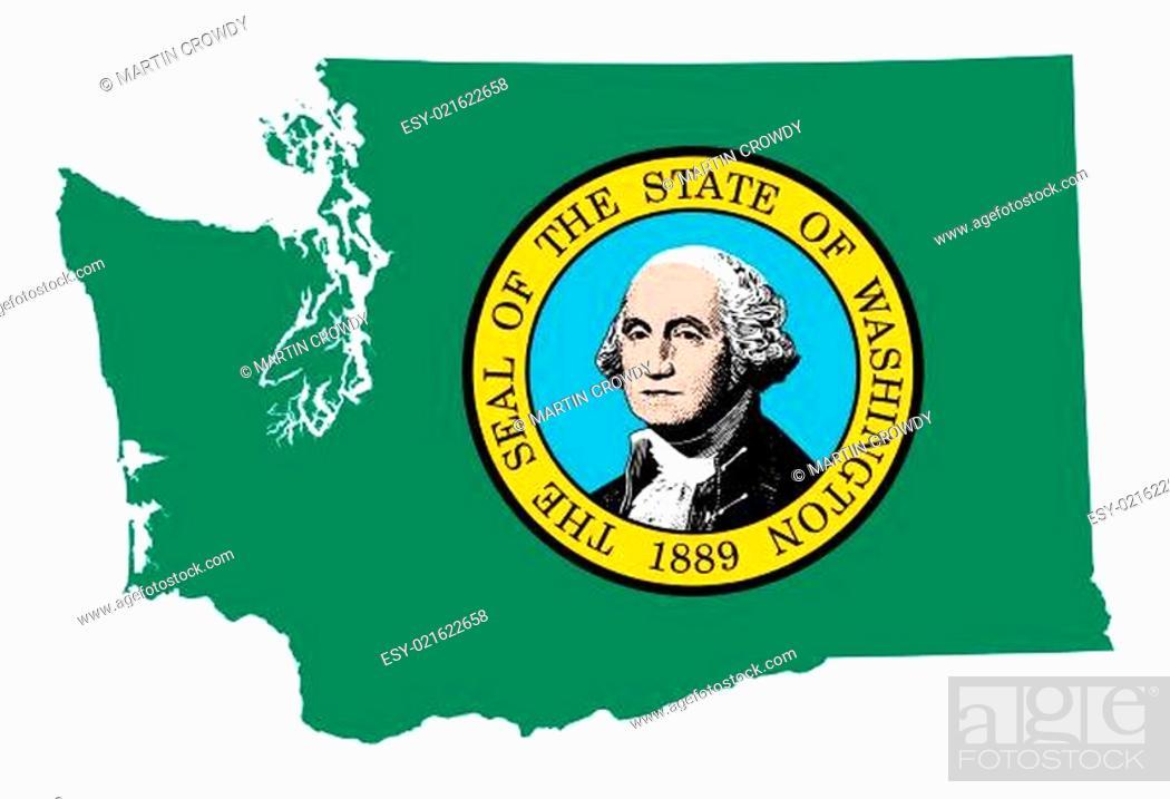 Imagen: State of Washington flag map.