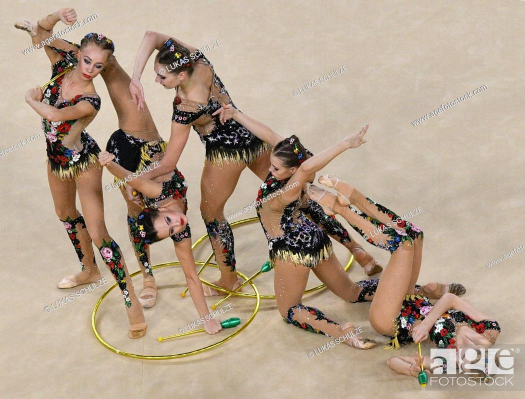 Team of Russia competes during the Group All-Around