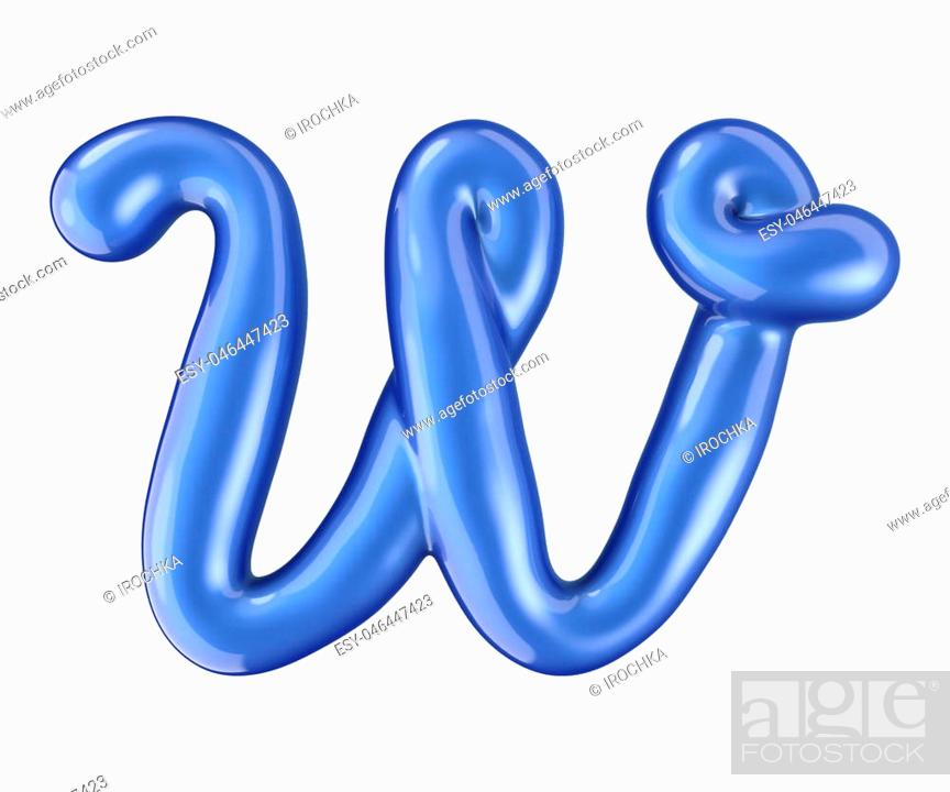 Stock Photo: Glossy blue letter W uppercase. 3D rendering font with glint isolated on white background.