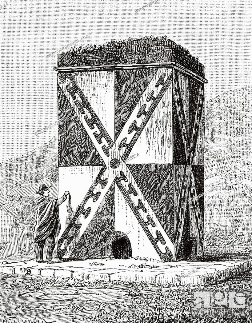 Stock Photo: Chullpa or chullpar is an ancient funeral tower of Aymara and Quechua origin, with an angular or round base, originally built for people of high status in the.