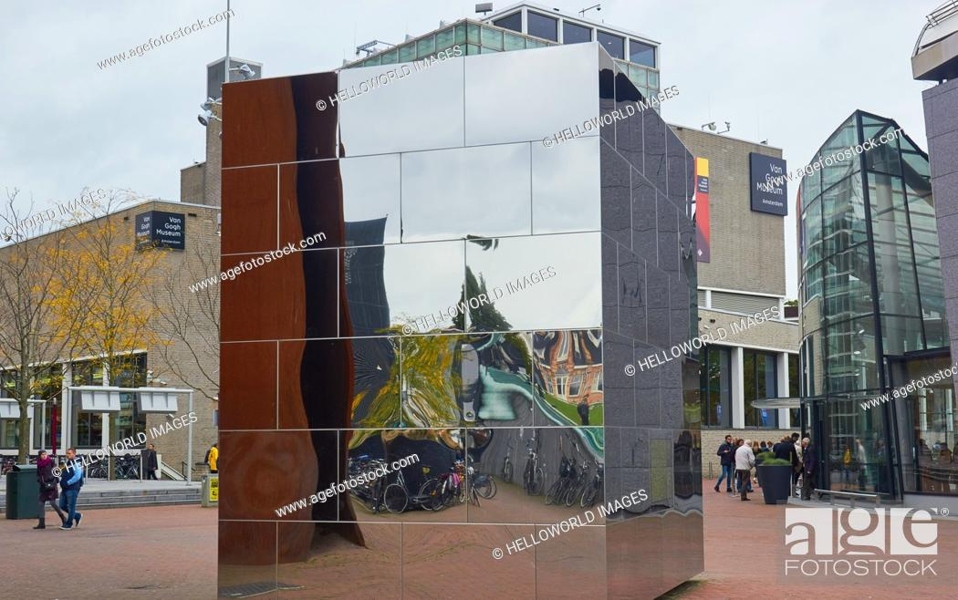 Stock Photo: Mirror cube (Calvin's Mecca) by Aziz Bekkaoui (2009), and the Van Gogh Museum, Museumplein (Museum Square), Amsterdam, Holland.