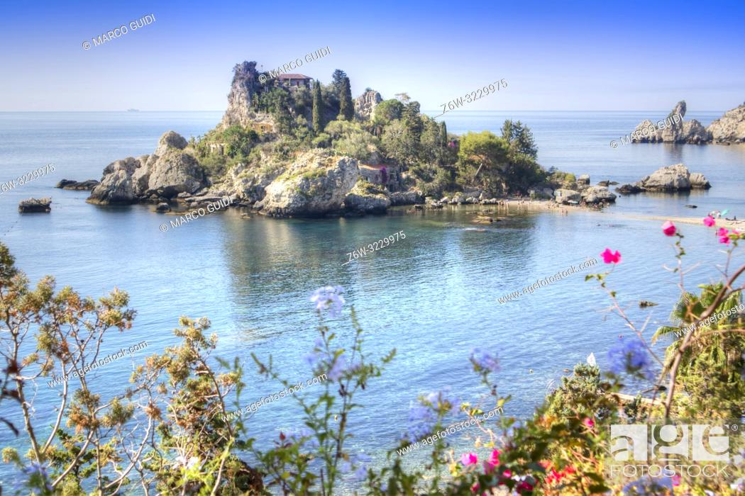 Stock Photo: Sicily Italy view of the famous, Isola Bella, in Taormina.