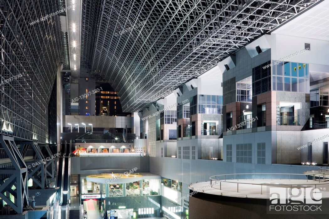 Stock Photo: The central concourse inside the futuristic interior of Kyoto railway station, Kyoto, Japan.