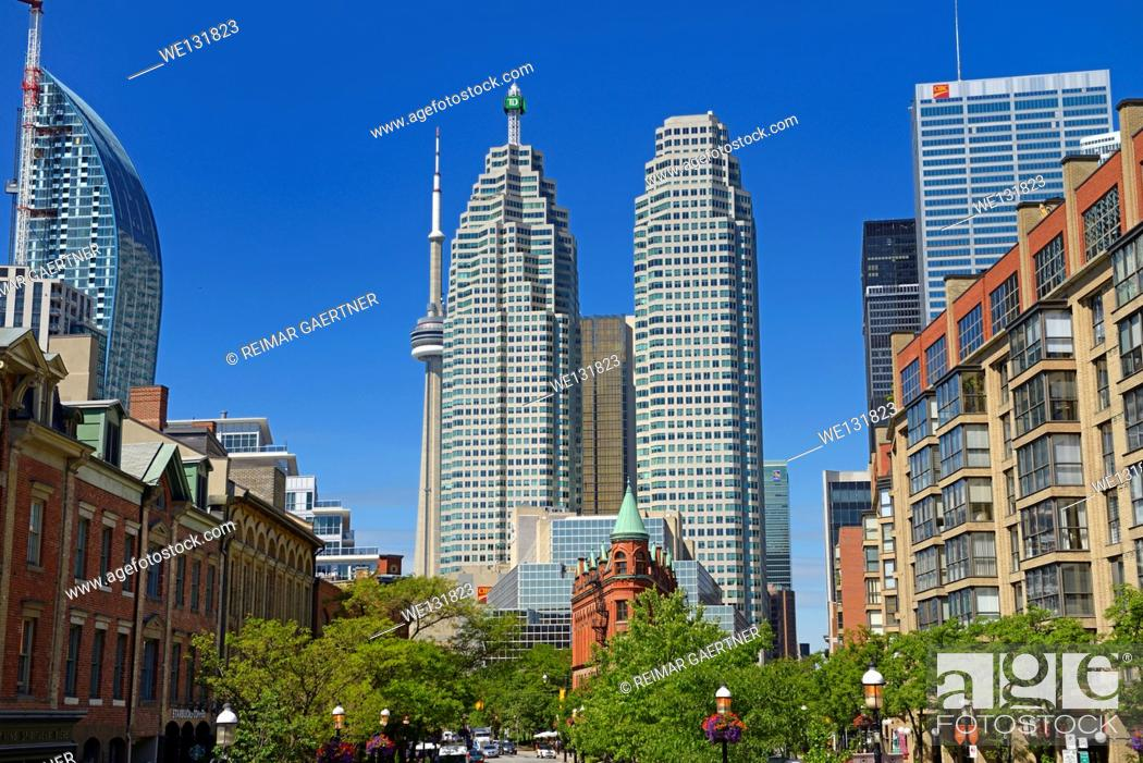 Stock Photo: Gooderham Flatiron building with financial district bank towers L tower and CN tower Toronto.
