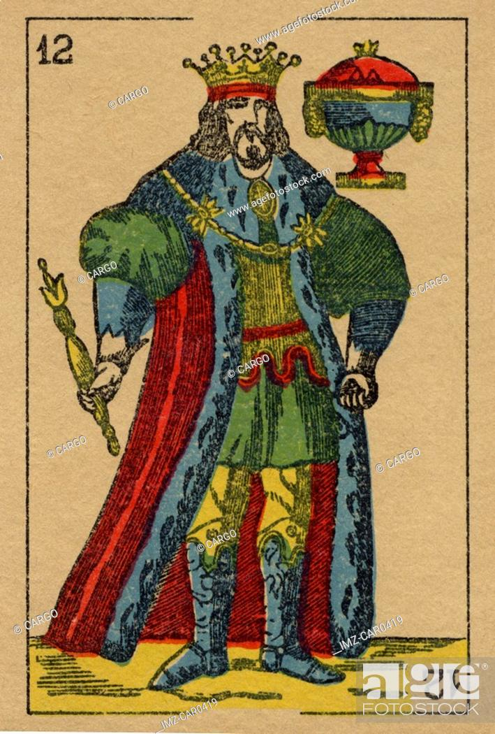 Stock Photo: Vintage playing card showing a king holding a sceptre and an urn.