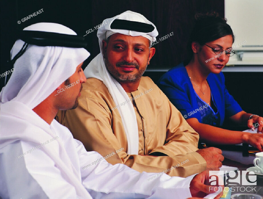 Stock Photo: Meeting of Arab businesspeople.